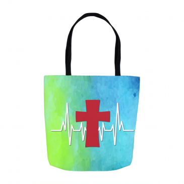 Heartbeat Cross Tote Bag