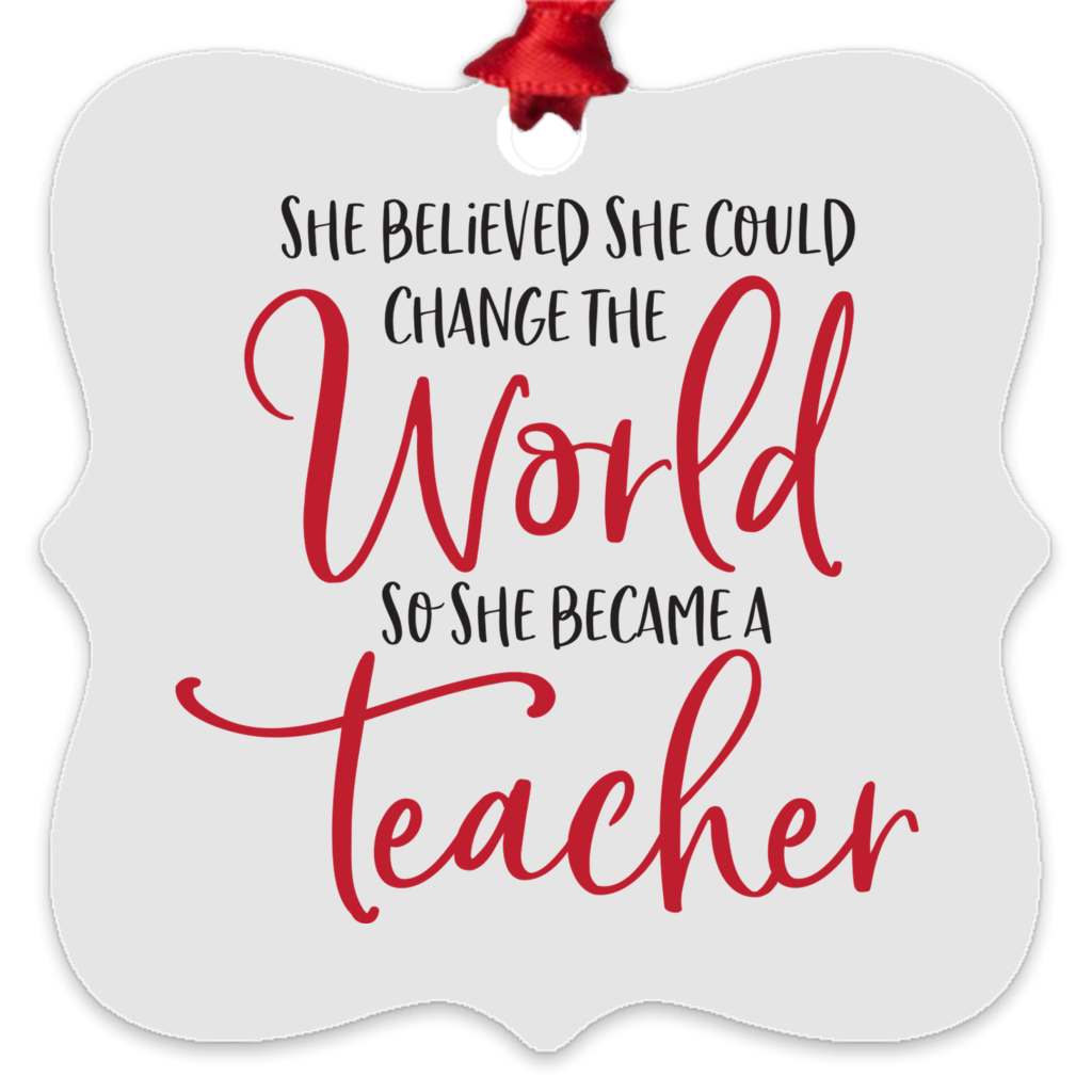 She Became A Teacher Metal Ornament