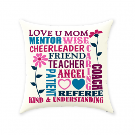 Love U Mom Throw Pillow